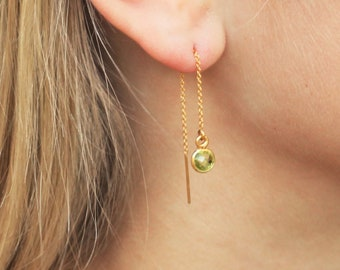 Birthstone Threader Earrings in Silver or Gold