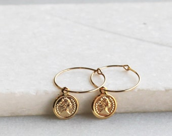 Small Coin Hoop Earrings - Aura Collection