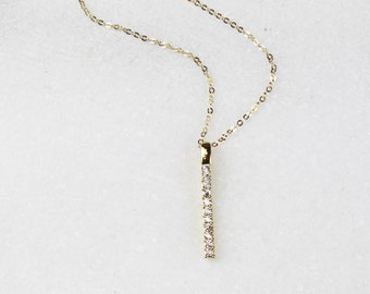 CZ Vertical Bar Necklace