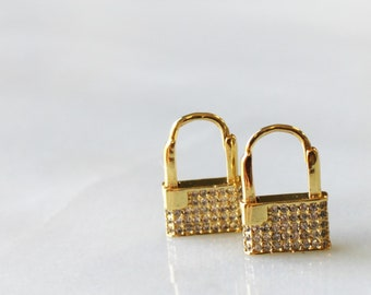 Huggie Earrings, Gold Lock Hoop Earrings - Aura Collection