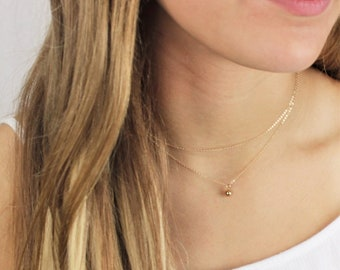 Ultra Dainty Layered Necklace set of 2 - Tiny Ball Charm