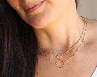 Petite Disc in Curb Chain Necklace