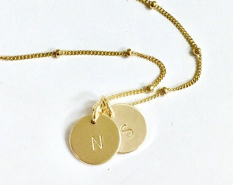 Petite Initial Necklace with Satellite Chain