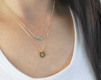 Birthstone Beaded Bar & Initial Layered Necklace Set