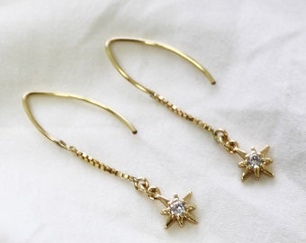 Gold North Star Dangle Earrings