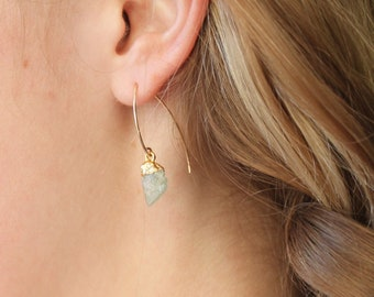 Raw Birthstone Dangle Earrings