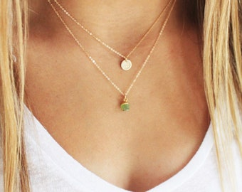 TINY Birthstone & Initial Layered Necklace Set