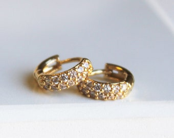 Tiny Pave Gold Huggie Hoop Earrings, 10mm - Aura Collection