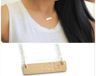 Bar Necklace With Initials and Crossed Arrows - Great gift for sisters and best friends