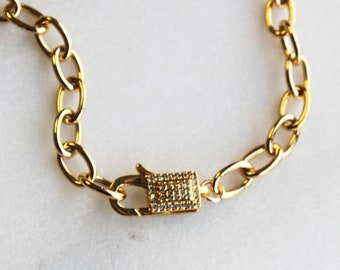 Chunky Chain Necklace with CZ Hardware Clasp - Aura Collection