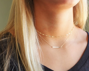 Fancy Chain & Petite Hammered Bar Layered Necklace Set