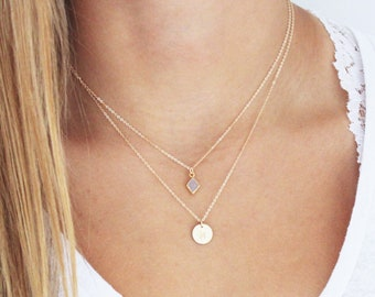 TINY Druzy & Initial Layered Necklace Set