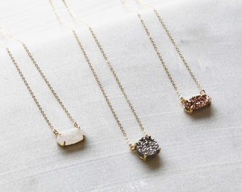 Gifts for her, Necklaces for Women, Druzy Necklace, Petite Druzy Necklace, Simple Necklace, The Silver Wren, Dainty Jewelry, Birthday Gifts