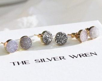 Sloan - Sparkling Druzy Stud Earrings