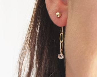 Gold Ball Stud Earrings with Crystal Chain Drop