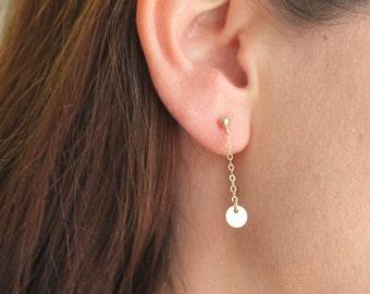 Gold Drop Stud Earrings