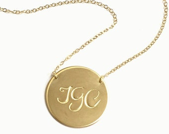 Extra Large Disc Monogram Necklace