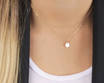 Layered Necklace - Tiny disc and chain