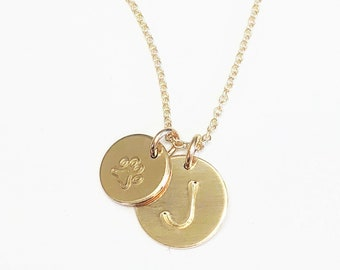 Petite & Medium Disc Initial Necklace