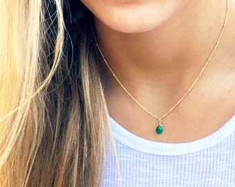 Birthstone Teardrop Charm Necklace