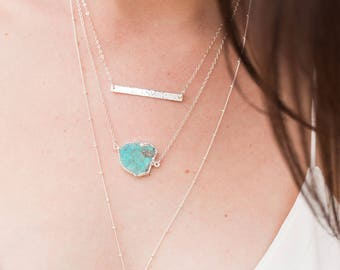 Real Turquoise Slice Necklace