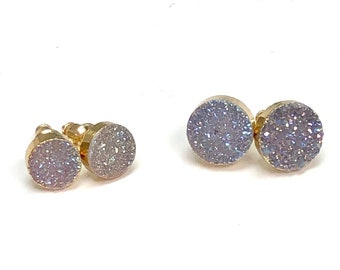 Sloan - Sparkling Druzy Stud Earrings, Stud Earrings, Gold Earrings