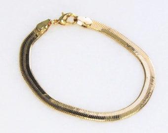 5mm Gold Herringbone Gold Bracelet