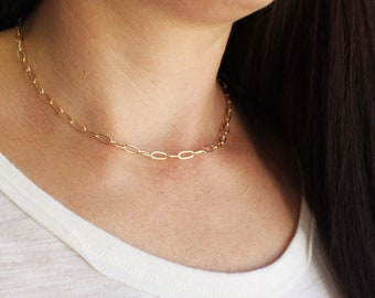 Paper Clip Necklace in Silver or Gold