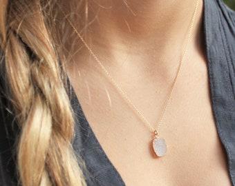 Petite Druzy Charm Necklace - Choose your color