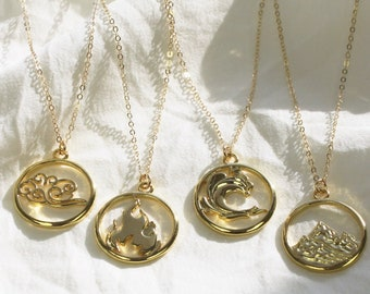 Gold Element Pendant Necklace - Earth, Water, Fire and Air