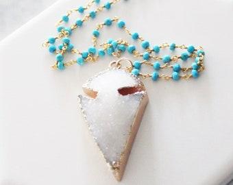 Druzy Arrowhead Necklace