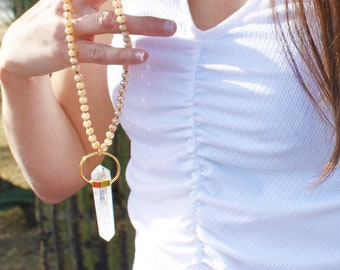 Long Crystal Pendant Beaded Necklace