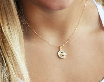 Round Crystal Initial Necklace