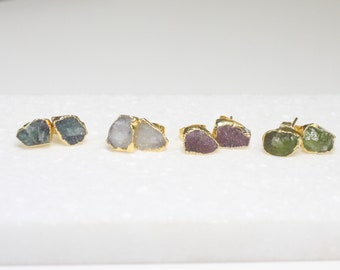 Birthstone Earrings- Rough Cut Gemstones in your choice of Stone