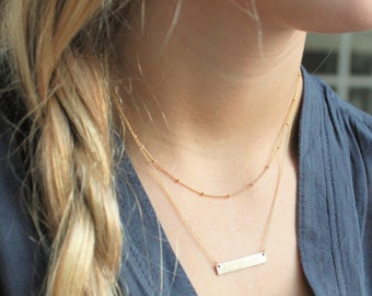 Satellite and Dainty Bar Layered Necklace Set