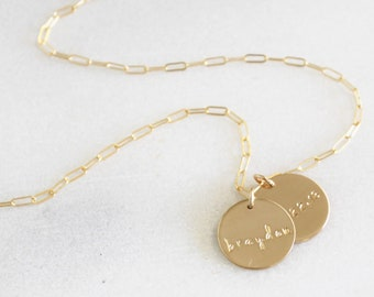 1-2 Large Personalized Disc Necklace - Choose your chain