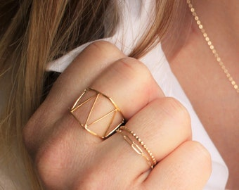 Wide Triangle Gold Ring
