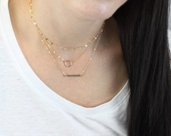 Fancy Chain, Mini Eternity Ring and Hammered Bar Layered Necklace Set of 3