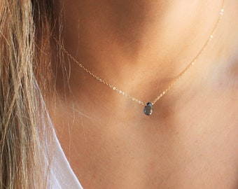 London Blue Topaz Necklace in silver or gold