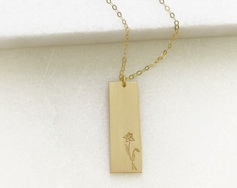 Birth Month Flower Necklace - Large Gold Rectangle
