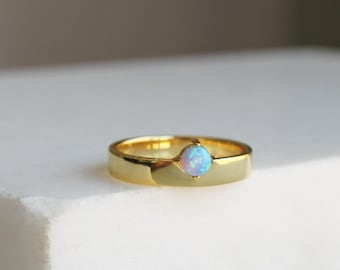 Opal & Thick Gold Band Ring
