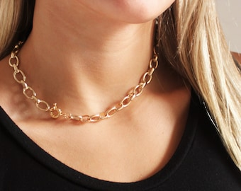 Oval Thick Gold Chain Necklace - Aura Collection