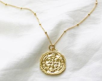 Gold Medallion Pendant Necklace on Satellite Chain