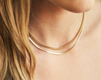 Layered Necklace Set of 2 Curb & Herringbone Chains