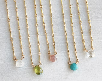 Birthstone Teardrop Necklace on Bar Chain