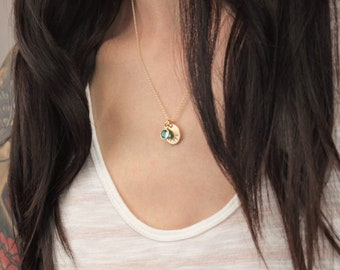 Medium Disc Name Necklace with Crystal Birthstone
