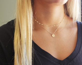 Fancy Chain & Petite Initial Necklace Set