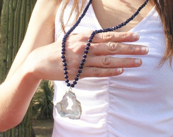 Long Druzy Pendant & Navy Necklace