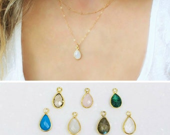 Charm Necklace, Dainty Gem Necklace, Stone necklace, Gold Necklace, Gemstone Jewelry, Bridesmaid Gifts, Layering Necklace, Dainty Jewelry