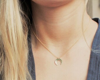 Upside Down Moon Charm necklace - In Silver, Rose or Gold